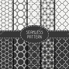moroccan wrapping paper set of geometric monochrome lattice seamless arabic pattern