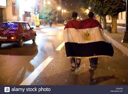 Cairo Flag Youth Adorn Themselves With An Egyptian Flag In Cairo Egypt Stock