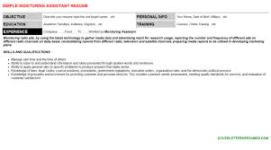 monitoring assistant cover letter u0026 resume