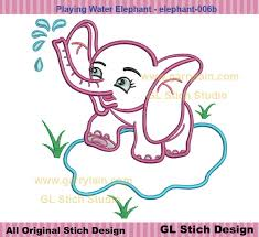 elephant applique water machine embroidery design