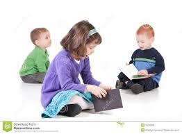 sitting children reading kids books royalty free stock images