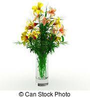3d Flower Vase Drawings Of 3d Flower Arrangement On Vase Isolated On White
