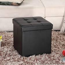 folding ottoman storage cube footstool stool blanket box pouf faux lea