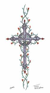 celtic cross with roses i like the cross not the vines or the