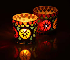 Wholesale Suppliers Of Christmas Decorations by Bulk Glass Set Of 2 Tealight Holder Multicolor Votive Suppliers