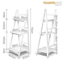 wooden ladder book shelves display shelving storage 3shelf tier