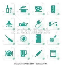 objets de cuisine stylisé objets accessoires cuisine icônes ensemble