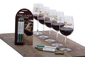 amazon com wine glass writer metallic color 3 pack wine glass