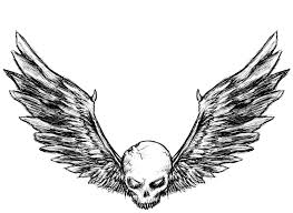 skull with angel wings tattoo sketch real photo pictures images
