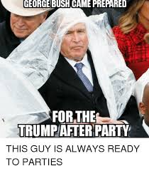 george bush came prepared for the party this guy is always ready to