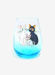 cartoon wine glass sailor moon luna u0026 artemis stemless wine glass boxlunch