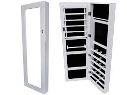 White Jewelry Armoire Mirror Decor Endearing White Wood Stained Jewelry Armoire Walmart Best