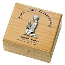 communion jewelry box personalized boy holy communion maple wood keepsake box