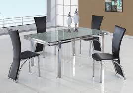 Contemporary Upholstered Dining Room Chairs Kitchen Decorative Expandle Glass Dining Table And Black Modern
