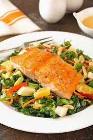 glazed salmon and kale salad with creamy citrus dressing recipe