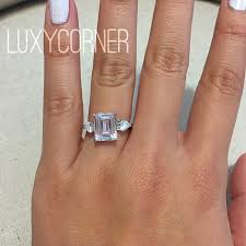 3 carat ring engagement ring emerald cut rectangle engagement ring