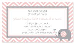bring book instead of card to baby shower 48 pink elephant bring a book baby shower card toys