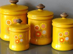 yellow kitchen canister set happy vintage 1950s yellow floral ransburg kitchen canister set