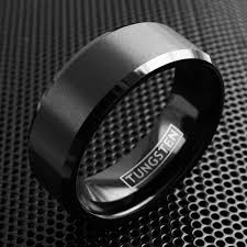 all black rings images Black brushed satin finish beveled edge tungsten ring wholesale jpg