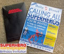 superhero newspaper birthday invitation the scrap shoppe