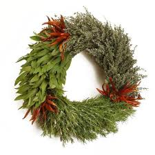 herb wreath fresh organic three herb wreath bay leaf rosemary thyme chili peppers