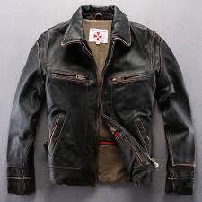 buy biker jacket vintage genuine leather jacket men black leather motorcycle jacket