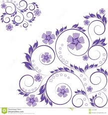 curled purple floral ornament isolated on white royalty free stock