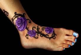Flower Tattoo Designs On Feet - purple rose tattoos purple flower ankle tattoo full tattoo