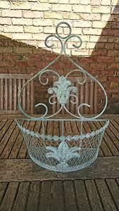 wire wall planter bathroom kitchen white distressed look fleur de