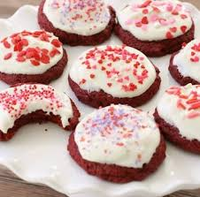 valentines cookies velvet cookies butter with a side of bread