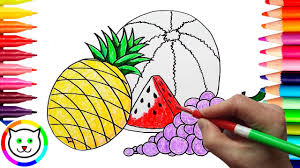 how to draw grapes and watermelon coloring pages fruits learn