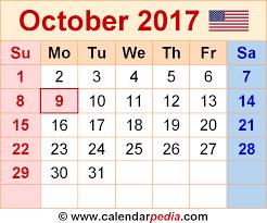 october 2017 calendars for word excel u0026 pdf