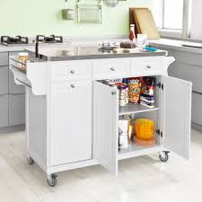 sobuy white luxury kitchen island storage trolley cart kitchen sobuy white luxury kitchen island storage trolley cart kitchen cabinet with stainless steel worktop