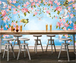 Wall Mural Wallpaper by 3d Room Wallpaper Custom Photo Mural Flowers And Birds Sky Clouds