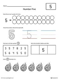 number 5 practice worksheet writing numbers printable