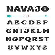 navajo font in the style of ornaments of indian tribes stock