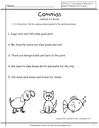 Noun Worksheet Kindergarten Grammar Worksheets Commas In A Series First Grade Free Comma