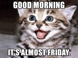 Almost Friday Meme - good morning it s almost friday happy kitten meme generator