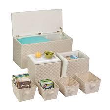 amazon com honey can do 7 piece ottoman storage set cream home