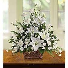 white lilies peaceful white lilies basket teleflora