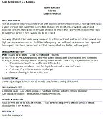 Receptionist Resume Example gym receptionist cv example icover org uk