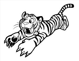 of coloring pages free printable pencil tiger jumping at you