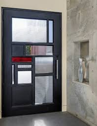 Metal Glass Door by Plain Modern Glass Front Door With Insert And Decorative Stonework