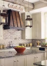 Gray Kitchen Gray Kitchen Cabinet With Brick Backsplash Wall And - Brick backsplash tile