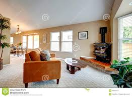 living room with freestanding stove in corner stock photo image