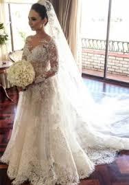 custom made wedding dress classic lace a line wedding dress 2018 sleeve with flowers