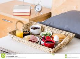 Breakfast In Bed Table by Breakfast In Bed Tray On Bed Beside Night Stand Stock Photo
