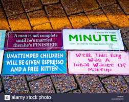 humorvolle sprüche sayings on plates on display humorvolle sprüche auf stock