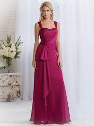 fashionable simple long fuchsia bridesmaid dresses wide straps