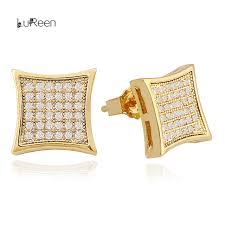 gold ear ring image lureen hiphop men gold earring micro pave cz rhinestone
